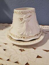 Yankee Candle Co Brushed Gold Angel Medium Large Jar Shade And Plate
