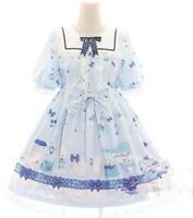 Women's Lolita Sweet Printed Strap Dress Short Sleeve Dress Brand New 1pc