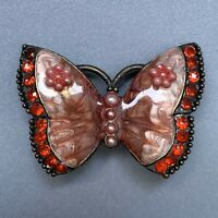 Enamel Rhinestone Faux Pearl Butterfly Brooch Pin Pink Red Small Beaded Romantic