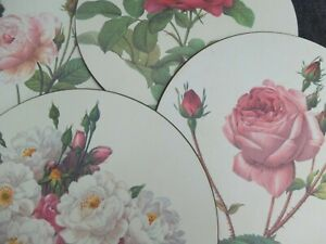 VINTAGE set of 6 LADY CLARE ROUND TABLE PLACEMATS - MELAMINE  roses design