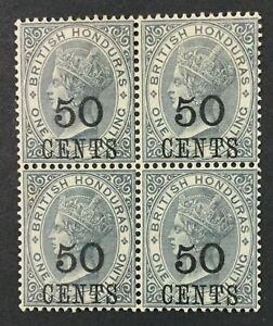 MOMEN: BRITISH HONDURAS SG #42 1888 BLOCK MINT OG 2NH/2H £152++ LOT #61700