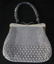 Vintage Beaded Purse Blue Fabric Covered with White Beads