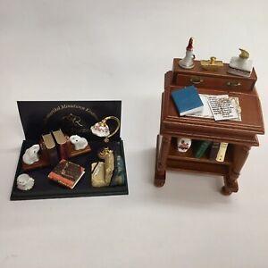 Reutter Porcelain Dollhouse Miniature Slant Top Desk Set AND Desktop Set