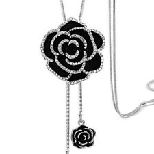 Elegant Black Rose Flower Long Necklace Sweater Chain Crystal Women Jewelry Gift