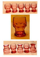 VINTAGE Anchor Hocking Drinking Glasses 8 oz. GEORGIAN PINK Thumbprint 5-PC Set