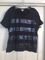 Gap Navy Blue Top With Sequins Across Front, Size Large