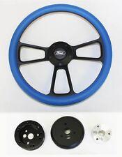 "Bronco F100 F150 F250 F350 Steering Wheel 14"" Sky Blue on Black Ford Center"