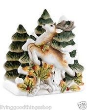 Nib Fitz and Floyd Woodland Holiday Reindeer Christmas Dinner Napkin Card Holder
