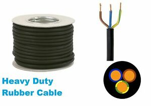 Rubber Cable 3 core 4mm H07RN-F Heavy Duty Pond Outdoor Site Extension per metre