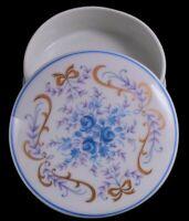 Limoges France White Porcelain Blue Floral Jewelry / Trinket Box