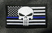 2PC USA FLAG PUNISHER SKULL POLICE THIN BLUE LINE TACTICAL HOOK LOOP PATCH