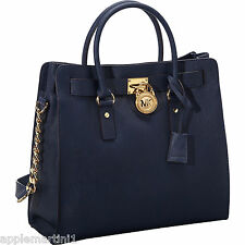 NWT! MICHAEL KORS HAMILTON LARGE NAVY GOLD SAFFIANO LEATHER TOTE BAG PURSE $358!