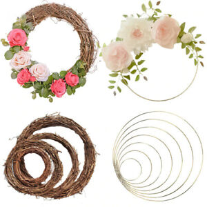 Floral Metal Hoop Wreath Hanging Flower Ornament Bridal Wedding Xmas Party Deco