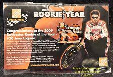LMH PINBACK Pin 2009 NASCAR Winston Racing ROOKIE 20 JOEY LOGANO Home Depot Year