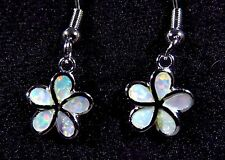 Sterling 925 Silver SF Earrings White Lab Opal SMALL PLUMERIA FLOWER 1 1/8""