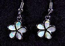 "Sterling 925 Silver SF Earrings White Lab Opal SMALL PLUMERIA FLOWER 1 1/8"""