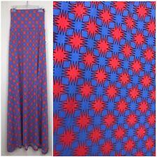 LuLaRoe SILKY Red Blue Starburst Maxi Skirt Strapless Dress SZ SMALL CC245