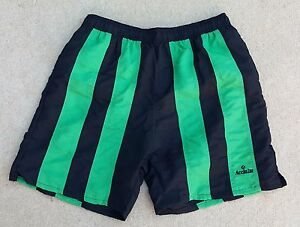 ACCLAIM Moscow Mens Shorts Large Black Green Mesh Liner Peach Feel Striped 32/34