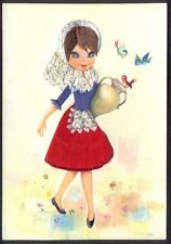 Embroidered Postcard: Spanish Girl with Urn. Free UK Postage
