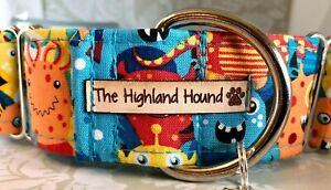 "2"" Monster Handmade Martingale Dog Collar Greyhound, Whippet, Lurcher, Saluki"