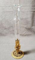 Vintage Vanity Vase Gold Gilt Ormolu Stand Floral Filigree Glass Insert