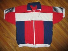 vtg 80s 90s Towncraft Zipper Front Shirt Patriotic Nautical Red White Blue Men L