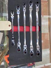 EZ Red 5-Pc Metric Extra Long Flex Head Spline Ratcheting Wrench Set