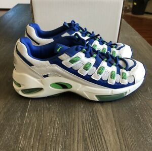 Puma Cell Endura Patent Men's Running Shoes Size 11 Blue/White/Green Sneakers