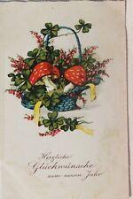 29758 AK Korb mit Pilzen Glückwunsch zum Neujahr Kitsch 1934 Pilz