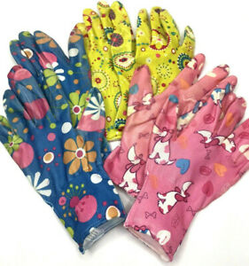 3 Pack Floral Pet Puppy Colorful Gloves for Outside Work or Gardening Fits Most