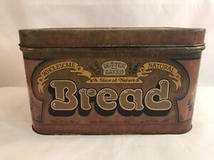 Vintage 1970s Cheinco Metal Bread Box Tin Home Kitchen Decor