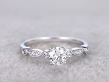 Real 14K White Gold Wedding Rings 0.62 Ct Round Cut Diamond Engagement Ring Size