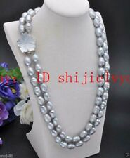 2 Rows 10-11mm Natural Gray Rice Freshwater Cultured Pearl Necklace 18-19'' AAA