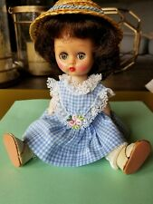"Vtg 8"" Cosmopolitan Big Eye GINGER  Doll Friend of Ginny in blue gingham outfit"