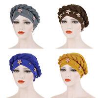 Comfortable Flower Braid Pearl Muslim Turban Hat Solid Color Cap Hijab Headwrap