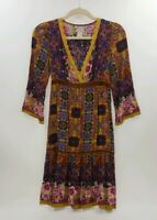 Flying Tomato Womens Dress Long Sleeve Brown Amber Yellow Size 6