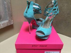 Betsy Johnson Taalia PROM Party Sandal platform Suede shoes 8,5 US Turquoise NIB