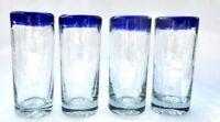 Set of 4 Mexican Hand Blown Glass Artisanal Tequila Mezcal Shot Glasses Blue Rim