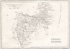 Antique DUBLIN & KILDARE county map by Alfred ADLARD. Ireland 1835 old
