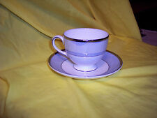 Wedgwood LUSTREWARE BLUE FIN Cup & Saucer BONE CHINA BLUE SILVER WHITE WEDGWOOD