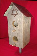 New listing Bird house with antique copper roof piece from Jewish synagogue & Star of David