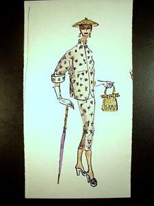 Lady In Pants Suit 1946-1959 Original Watercolor Sketch C Schattauer Kelm