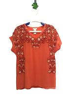 Sundance Catalog Top Blouse Size Small Embroidered Flower Silk  V Neck Orange