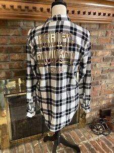 Ladies harley davidson soft white & black flannel shirt size large