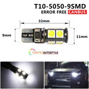 T10 CAR BULBS LED ERROR FREE CANBUS 9 SMD XENON WHITE W5W 501 SIDELIGHT INTERIOR