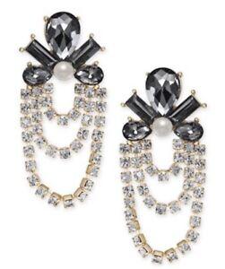 I.n.c. Gold-Tone Crystal, Stone & Imitation Pearl Chandelier Earrings JA36