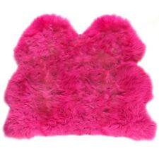 Fuschia British Sheepskin Rug UK Moorland Hide Fluffy Lambskin Size Side