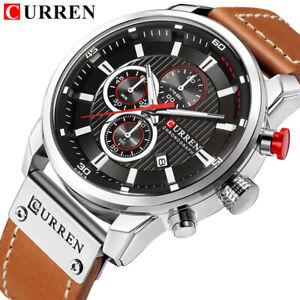CURREN Watch Men Casual Top Brand Sport Watches Male Leather Quartz Wristwatch
