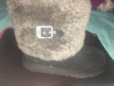 UGG ELLEE GIRL'S BOOTS BLACK SUEDE / SHEEPSKIN CUFF -BIG KIDS US 5 -NEW