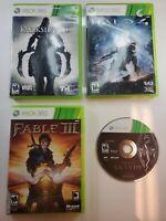 4 Xbox 360 Video Games Bundle (Skyrim Darksiders 2, Fable 3, Halo 4)